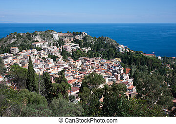 Taormina in Sicily - Looking down at the historic town of...