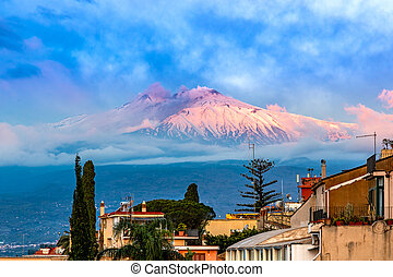 Taormina, Sicily, Italy: Panoramic view of the Etna seen over the city
