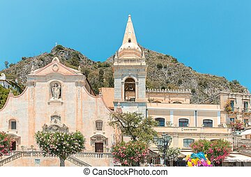TAORMINA, Sicily, ITALY - Piazza IX Aprile in near Chiesa di san Giuseppe, in Taormina,