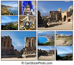 Taormina - Collage. Beautiful landscapes and atmospheres of...