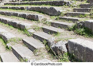 taormina, théâtre, sicile, grec, historique, sièges, escalier