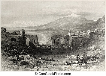Old view of Taormina Theatre with Etna volcano in background, Sicily, Italy. Created by Leitch and Adlard, published on Il Mediterraneo Illustrato, Spirito Battelli ed., Florence, Italy, 1841
