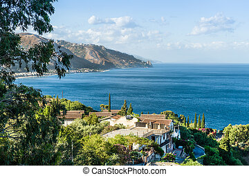 Taormina town, Sicily - Taormina wonderful view of seaside....