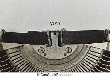 tapé, machine écrire, 70, mots, vendange