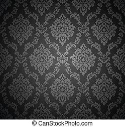 tapéta, királyi, seamless, damaszt
