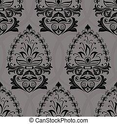 tapéta, pattern., seamless, sötét, vektor, retro