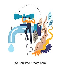Tap and plumber in overalls on ladder isolated icon abstract leaves
