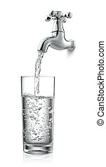 tap and water - filling a glass of water from tap