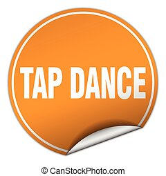 tap dance round orange sticker isolated on white