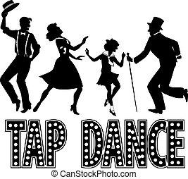 Tap dance silhouette banner - Black silhouette with retro...