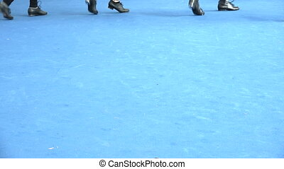 Tap dance stage at jazz festival, close up of legs movement...