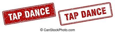tap dance square stamp. tap dance grunge sign set