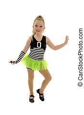 Smiling Tap Dancing Child in Jailhouse Rock Recital Costume