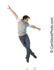 Tap Dancer - Tap dancer in blue jeans and tap shoes doing ...