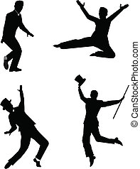 tap dancers in silhouette over white