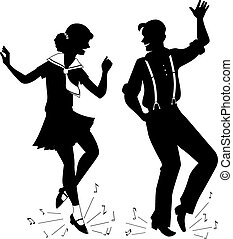 Tap Dancing silhouette - Black vector silhouette of a young...