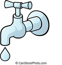 Dripping tap, light blue illustration with light shadows isolated on white background.