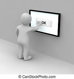 Tap on ok button on the touch screen. 3d rendered illustration.