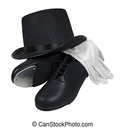 Tap Shoes Top Hat and White Gloves - Leather tap shoes with...