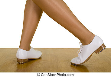 Movements And Poses Of Tap-Top/Clog Dance ; close up, on white