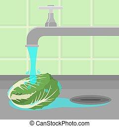 Tap washing cabbage
