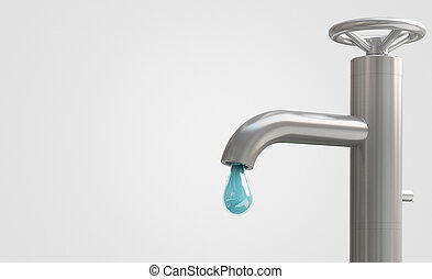 Tap with drop of water, 3d render illustration