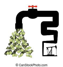Tap with money. Oil derrick pumps cash. Revenue from sale of...