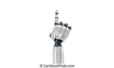 Tap with one finger of robot hand to click, showing the uses...
