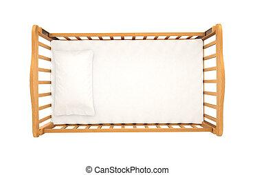 tapa de madera, aislado, plano de fondo, cuna, bebé, blanco, almohada, vista