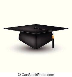 tapa graduación, aislado, blanco, plano de fondo