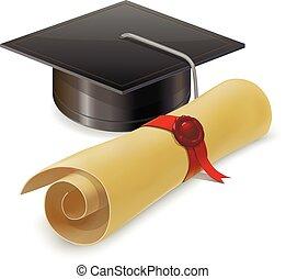tapa graduación, con, diploma., aislado, blanco, plano de...