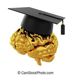 tapa graduación, con, dorado, cerebro
