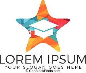 tapa graduación, forma estrella, vector, logotipo, design.