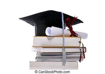 tapa graduación, libros, y, rúbrica