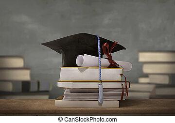 tapa graduación, sobre, pila, libros, con, grado, papel