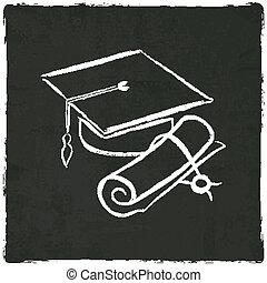 tapa graduación, y, diploma, en, viejo, plano de fondo
