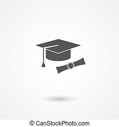 tapa graduación, y, diploma, icono