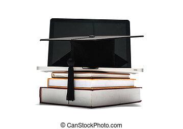 tapa graduación, y, libro, con, computador portatil