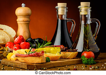 tapas and spices - still life with spanish tapas, spices and...