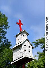 tapas, blanco, birdhouse, cruz
