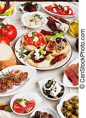 Tapas collection - Antipasto, tapas, various appetizer food...