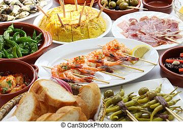 tapas, espagnol, variété