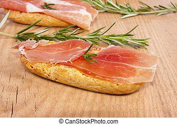 tapas of Serrano ham, Spanish typical dishes