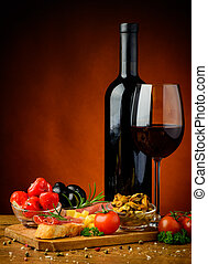 tapas, spagnolo, vino rosso