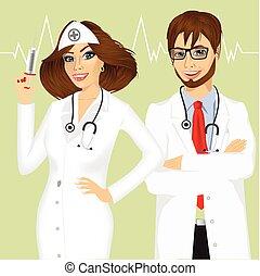 tapasztalt, hím, női, orvosok
