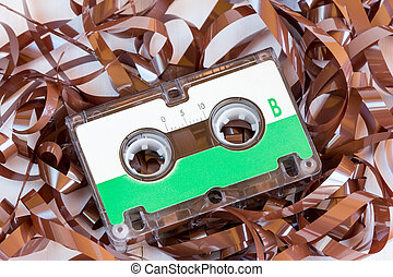 Tape cassette - Audio tape cassette with subtracted out tape