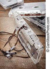 Tape cassette - closeup detail of clear plastic tape ...