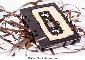 Tape cassette closeup on white background