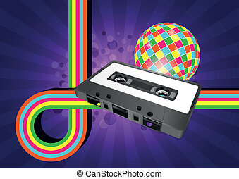 tape cassette - illustration of tape cassette with color...