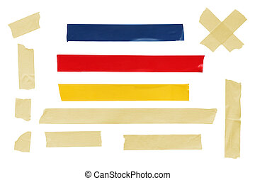 Assorted tapes, isolated on white, including masking tape and electrical tape.